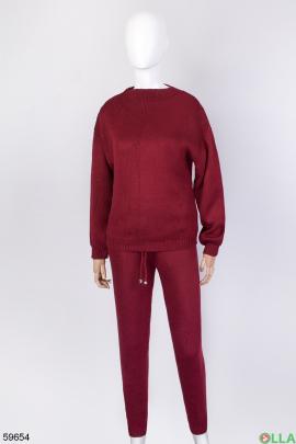 Женский бордовый трикотажный костюм