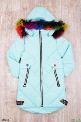 Куртка голубого цвета с капюшоном