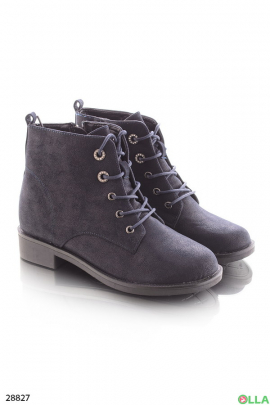 Ботинки синие со шнуровкой