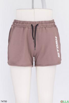 Женские коричневые спортивные шорты