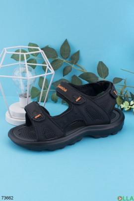 Мужские черные сандалии с оранжевыми вставками