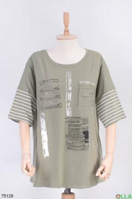 Женская футболка цвета хаки