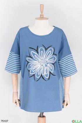 Женская синяя футболка с рисунком