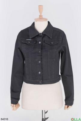 Женская черная джинсовая куртка