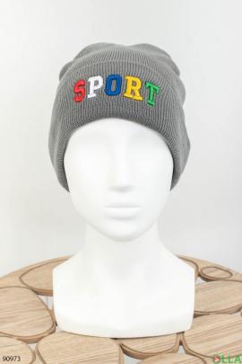Женская темно-серая шапка с надписью
