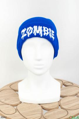 Женская синяя шапка с надписью