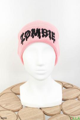 Женская розовая шапка с надписью