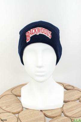 Женская темно-синяя шапка с надписью