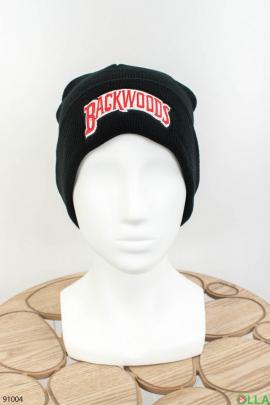 Женская черная шапка с надписью