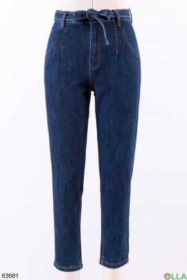Женские синие  джинсы с поясом