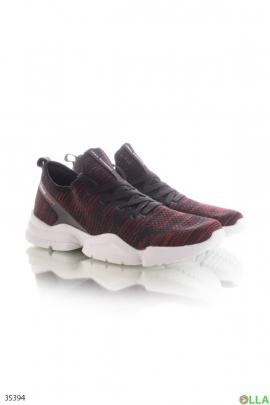 Мужские черно-красные кроссовки с верхом из текстиля