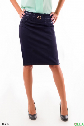 Синяя юбка  с пряжкой