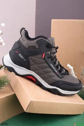 Мужские черно-серые демисезонные кроссовки