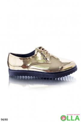 Туфли оксфорды золотистые