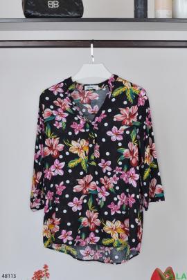 Женская  рубашка с цветочным принтом