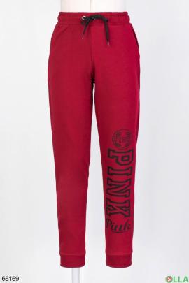 Женские бордовые спортивные брюки с надписью