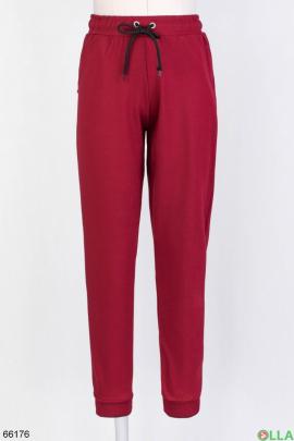 Женские бордовые спортивные брюки