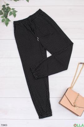 Женские черные брюки в горошек
