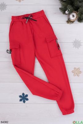 Женские красные спортивные брюки на флисе