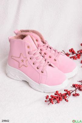 Розовые ботинки со звездой