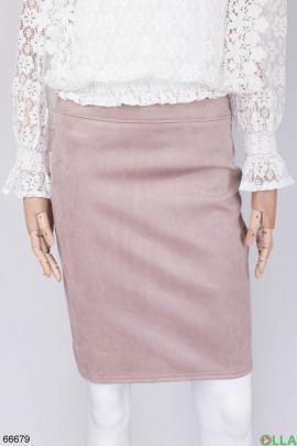 Женская бежевая юбка из эко-замши