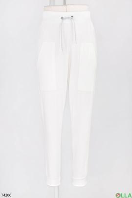 Женские спортивные белые брюки