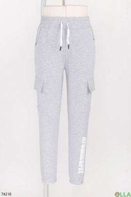 Женские спортивные серые брюки