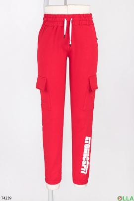 Женские спортивные красные брюки