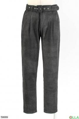 Женские темно-серые брюки с ремнём