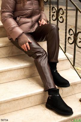 Женские коричневые брюки из эко кожи