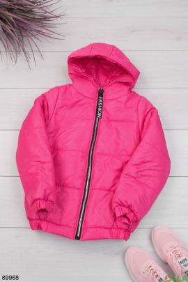 Женская малиновая куртка с капюшоном