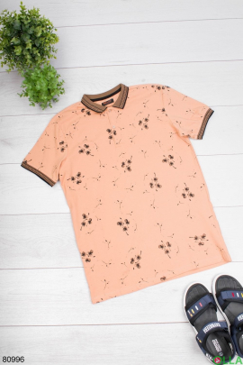 Мужская бежевая футболка поло в принт