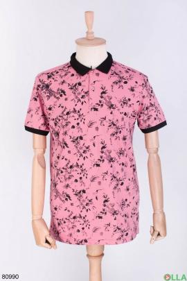 Мужская розовая футболка поло в принт