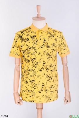 Мужская желтая футболка поло в принт