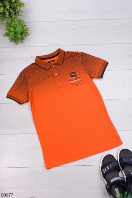 Мужская черно-оранжевая футболка поло