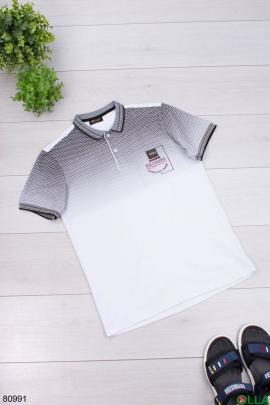 Мужская серо-белая футболка поло