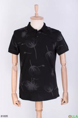 Мужская черная футболка поло в принт