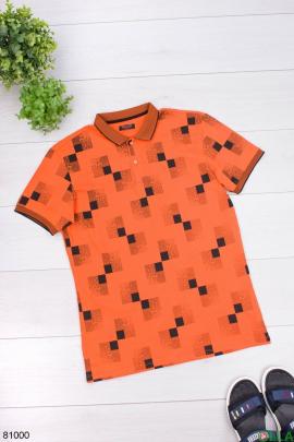 Мужская оранжевая футболка поло в принт