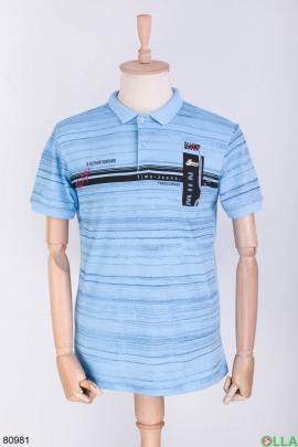 Мужская сине-голубая футболка поло в принт