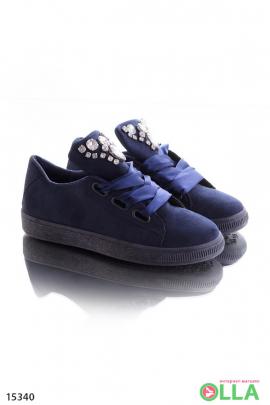 Синие кроссовки со стразами