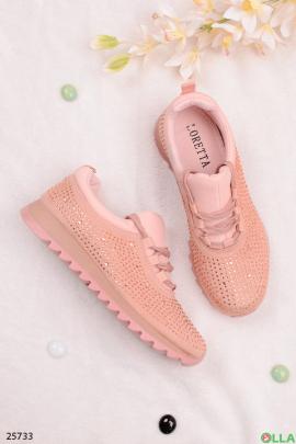 Розовые кроссовки со стразами