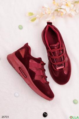 Бордовые кроссовки с имитацией шнуровки
