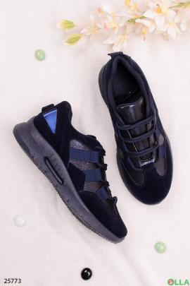 Синие кроссовки с имитацией шнуровки