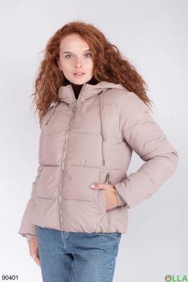 Женская зимняя бежевая куртка с капюшоном