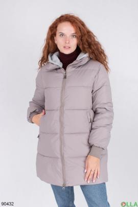 Женская зимняя темно-серая куртка с капюшоном