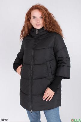 Женская зимняя черная куртка с капюшоном