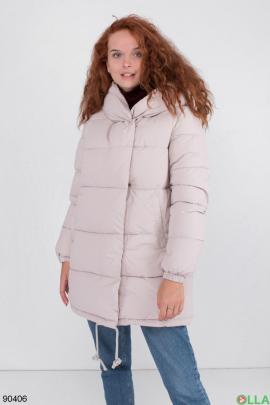 Женская зимняя светло-серая куртка с капюшоном