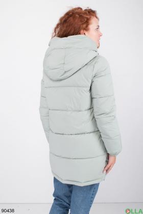 Женская зимняя бирюзовая куртка с капюшоном