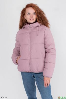 Женская зимняя розовая куртка с капюшоном