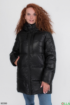 Женская зимняя черная куртка из эко-кожи